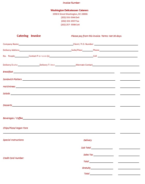 9 Free Sample Catering Quotation Templates Printable Samples