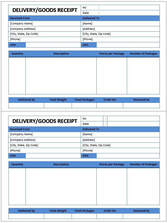 10 Free Sample Goods Delivery Receipt Templates Printable Samples