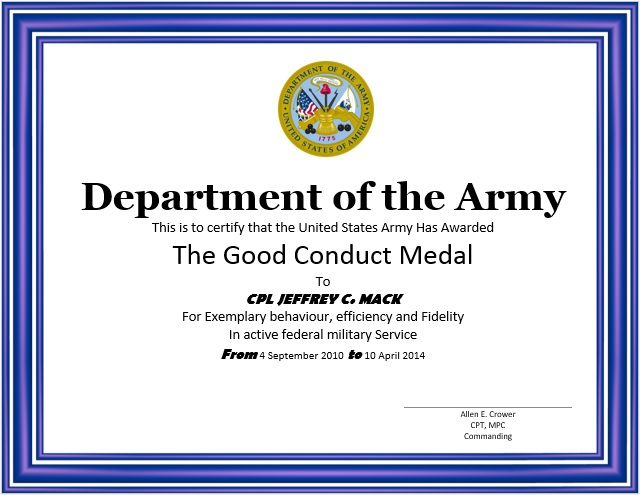 8 Free Sample Good Conduct Certificate Templates Printable Samples – Sample Certificate Templates