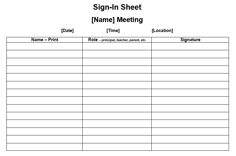 9 Free Sample Conference Sign in Sheet Templates Printable Samples – Sample Meeting Sign in Sheet
