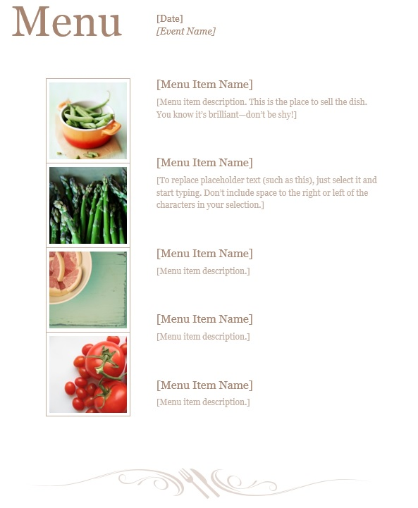 7 Free Sample Dinner Menu Templates Printable Samples