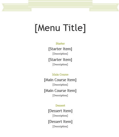 7 Free Sample Office Menu Templates Printable Samples – Microsoft Office Menu Template