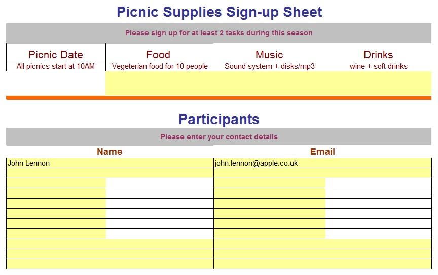 9 Free Sample Volunteer Signup Sheet Templates Printable Samples – Sample Sign Up Sheet