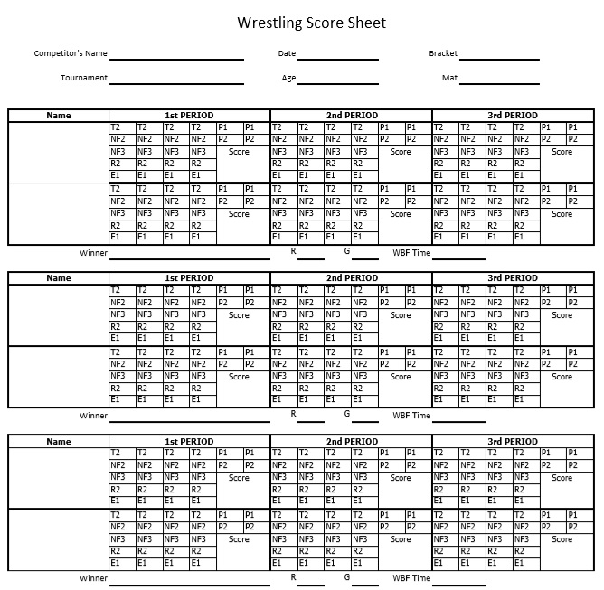 8 Free Sample Wrestling Score Sheet Samples Printable Samples – Wrestling Score Sheet