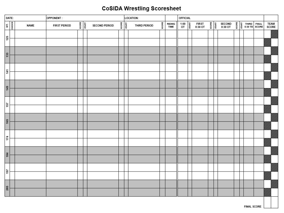 Doc 585485 Sample Wrestling Score Sheet Sample