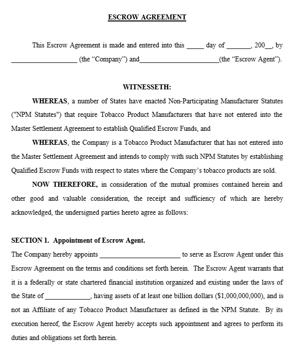 10 Free Sample Escrow Agreement Templates Printable Samples