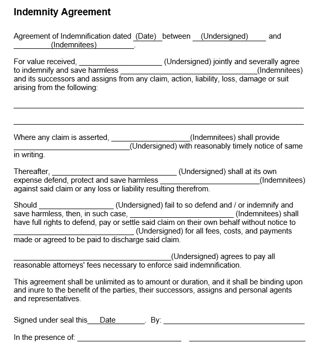 Underwriting agreement indemnification agreements