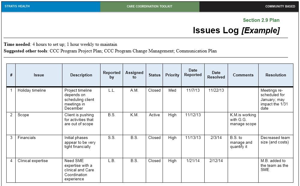 13 Free Sample Issue Log Templates - Printable Samples
