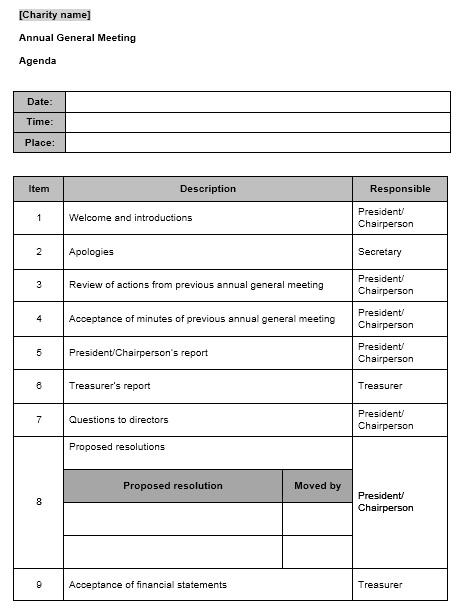 Download An Annual General Meeting Agenda Template 11 Printable Samples