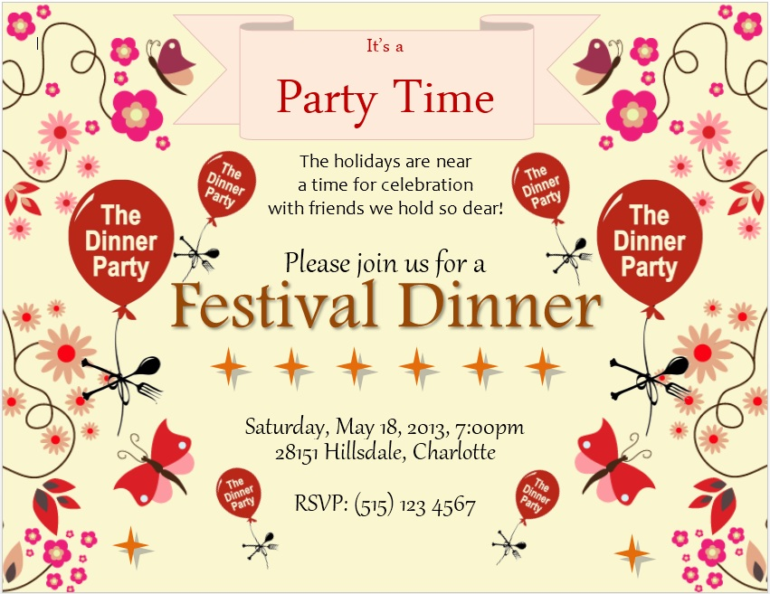 12 free sample dinner invitation card templates