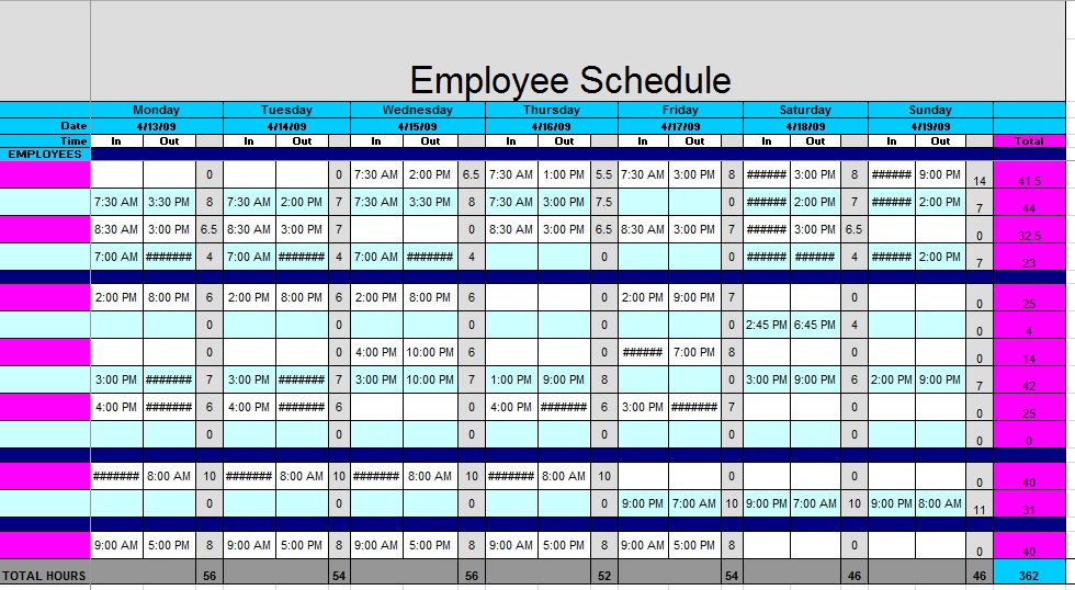 12 Free Sample Staff Schedule Templates - Printable Samples