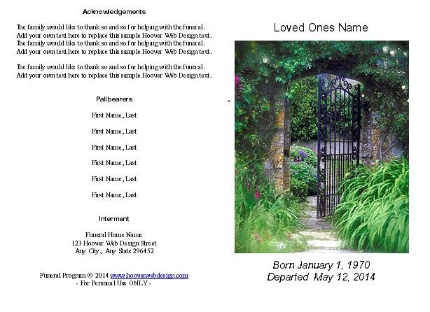 Hoover Web Design Funeral Memorial Program Gate 2 Printable Samples