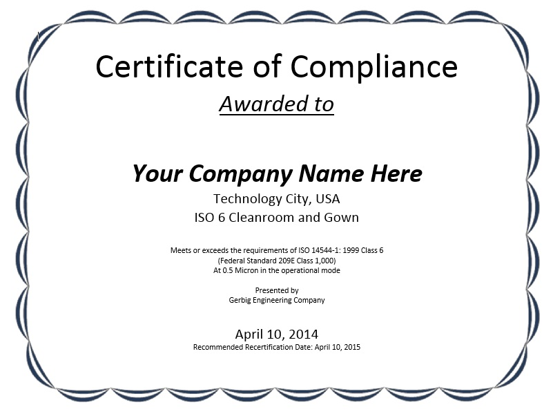 certificate compliance template sample templates professional samples printable word ms