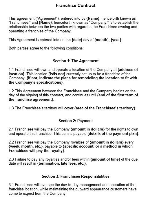 10 Free Sample Franchising Agreement Templates Printable Samples