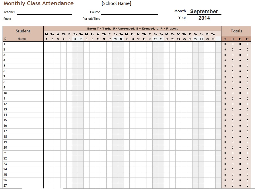 School Attendance List Templates | 10+ Free Word, Excel & PDF