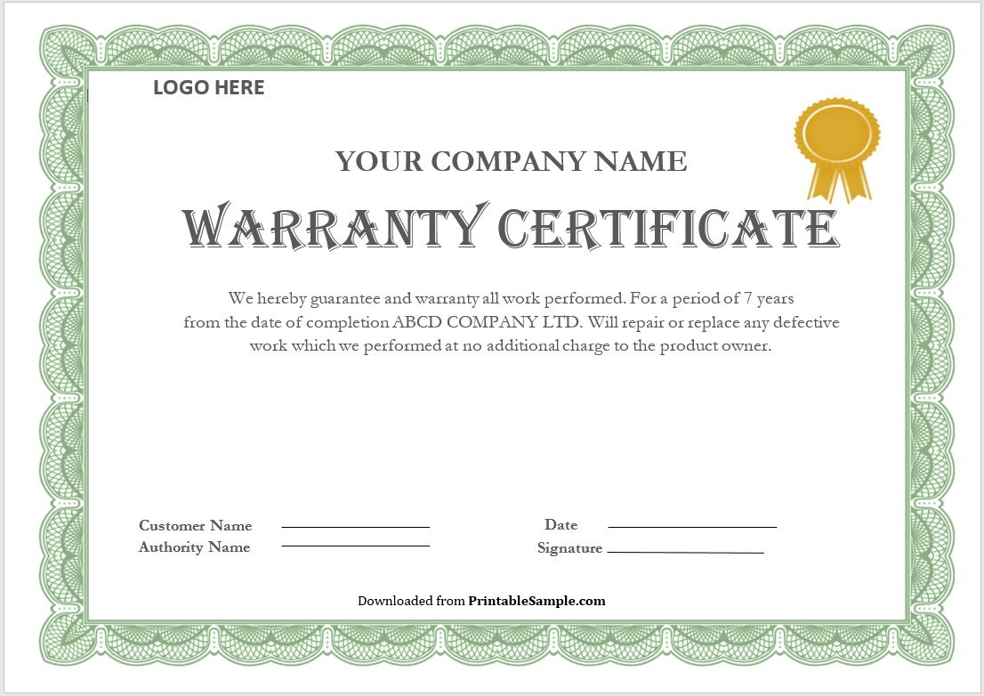 Warranty Certificate Template 01