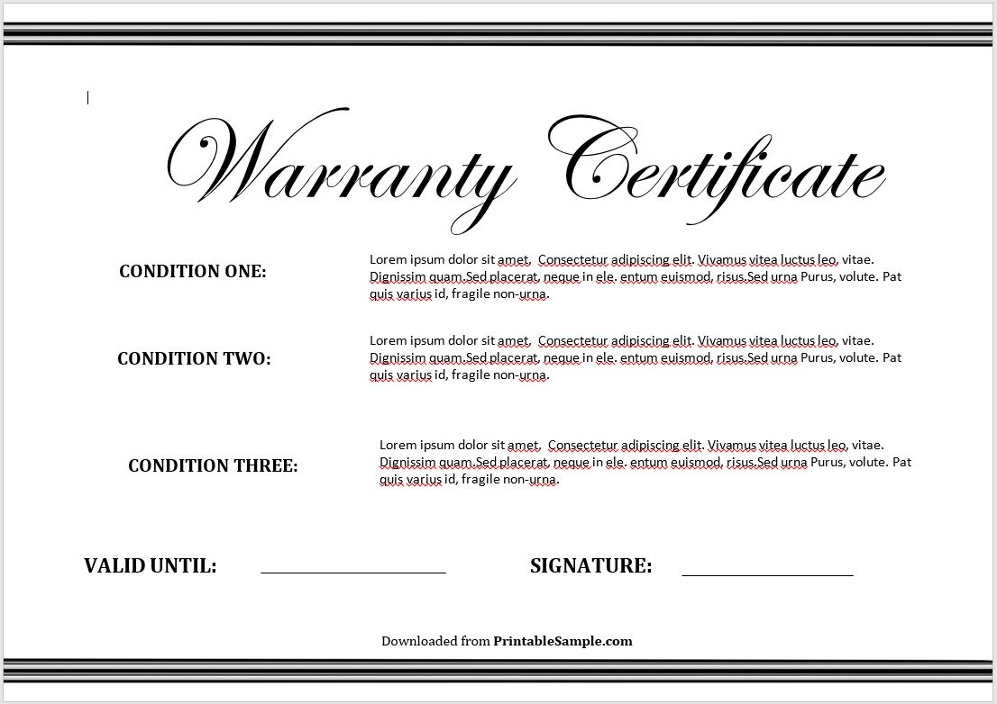 Warranty Certificate Template 02