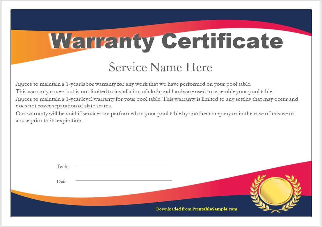 Warranty Certificate Template 03
