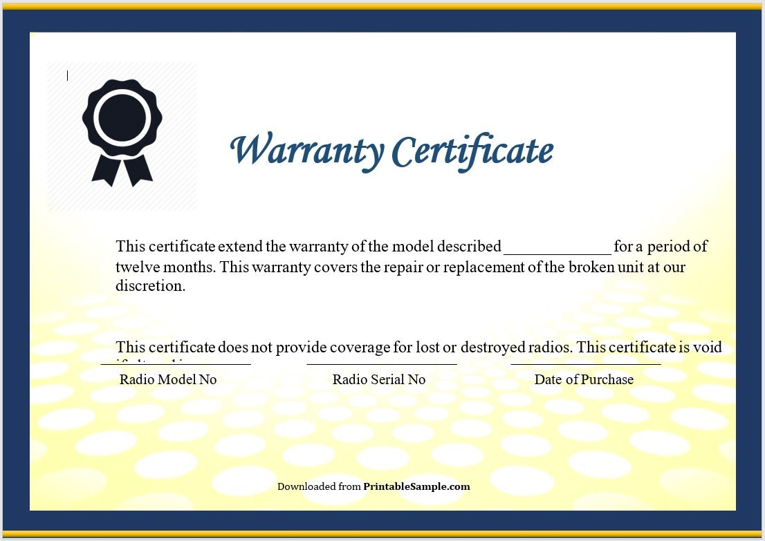 Warranty Certificate Template 04