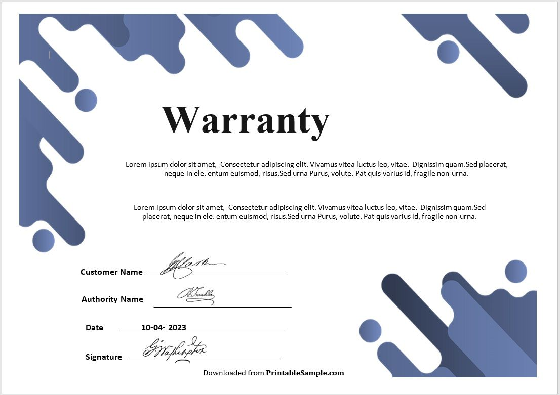 Warranty Certificate Template 05