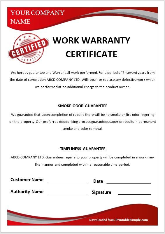 Warranty Certificate Template 06