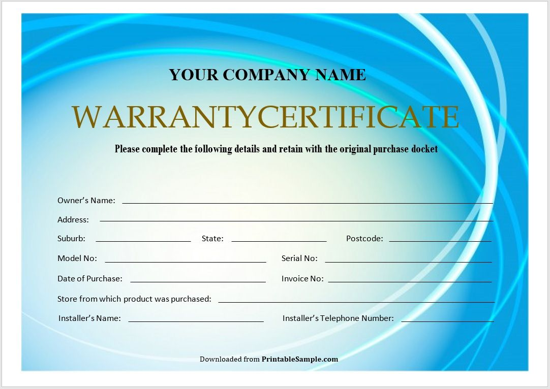 Warranty Certificate Template 07