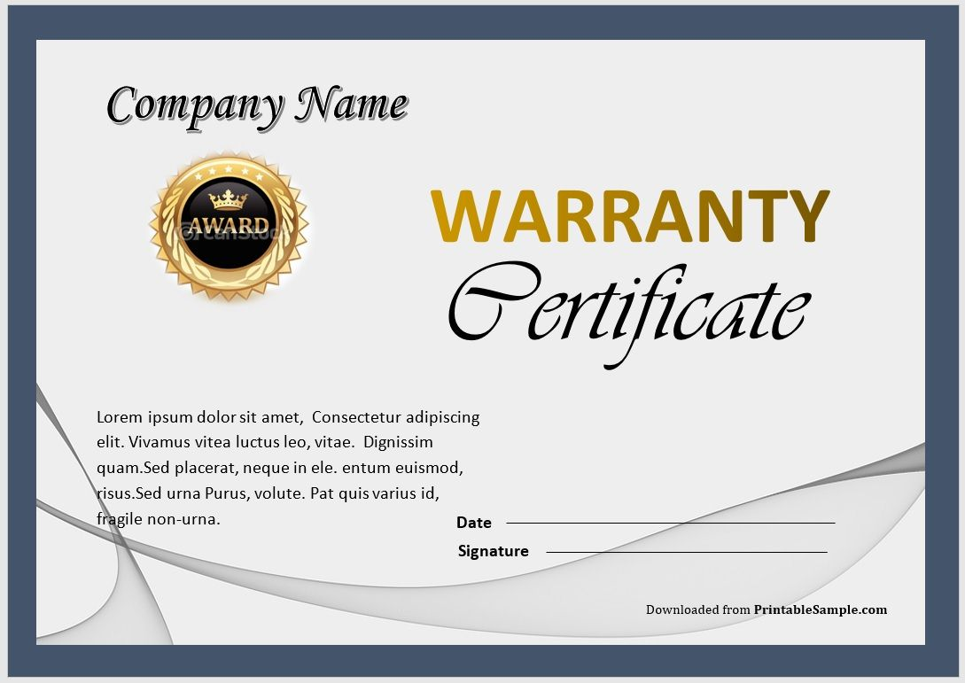 Warranty Certificate Template 08