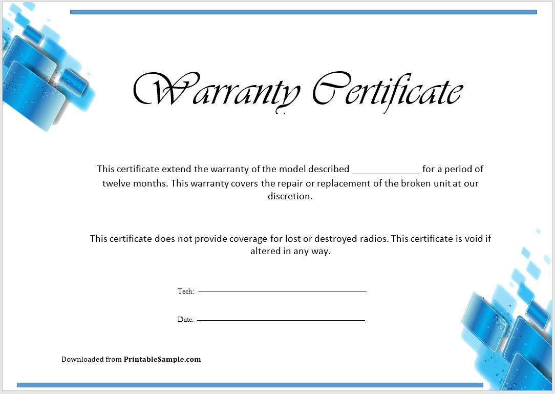 Warranty Certificate Template 09