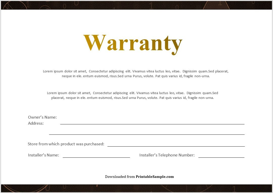 Warranty Certificate Template 10