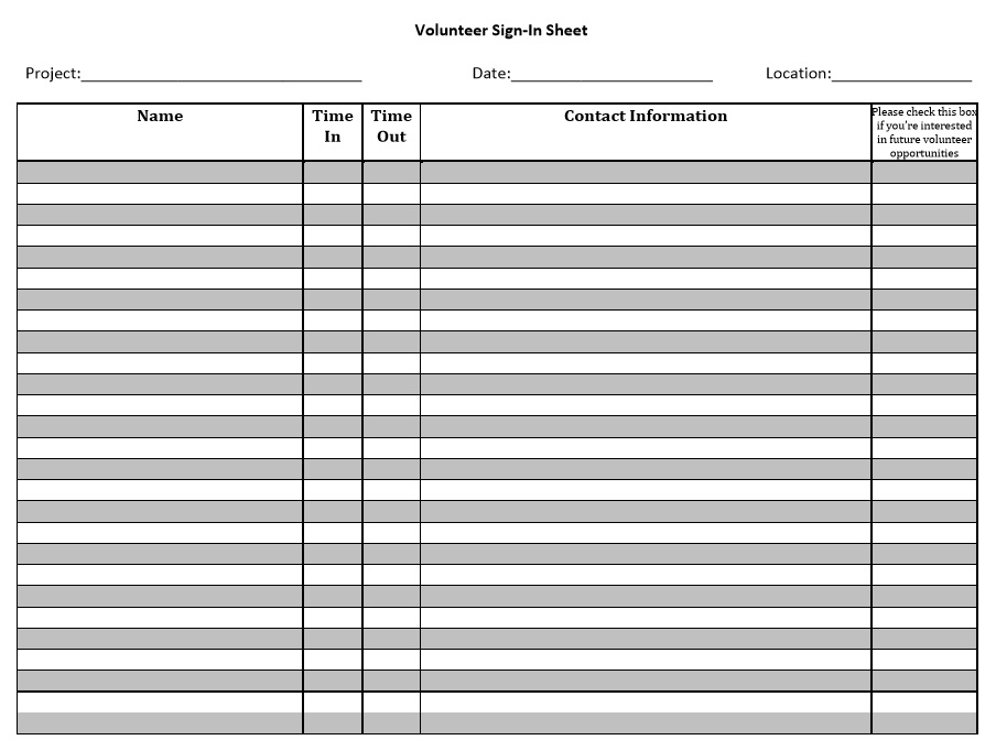 10 Free Sample Volunteer Sign In Sheet Templates Printable Samples