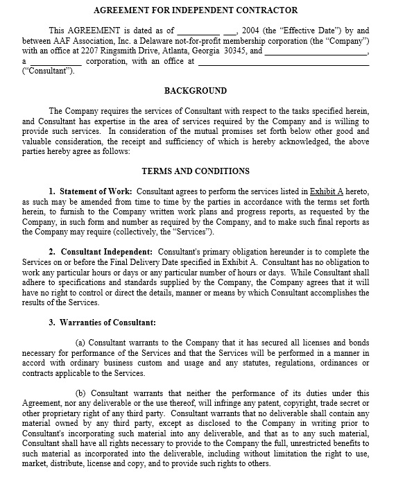 10 Free Independent Contractor Agreement Templates Printable Samples