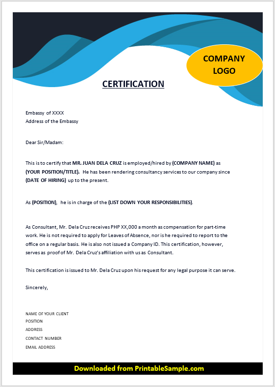 Proof of Employment Certificate Template 01