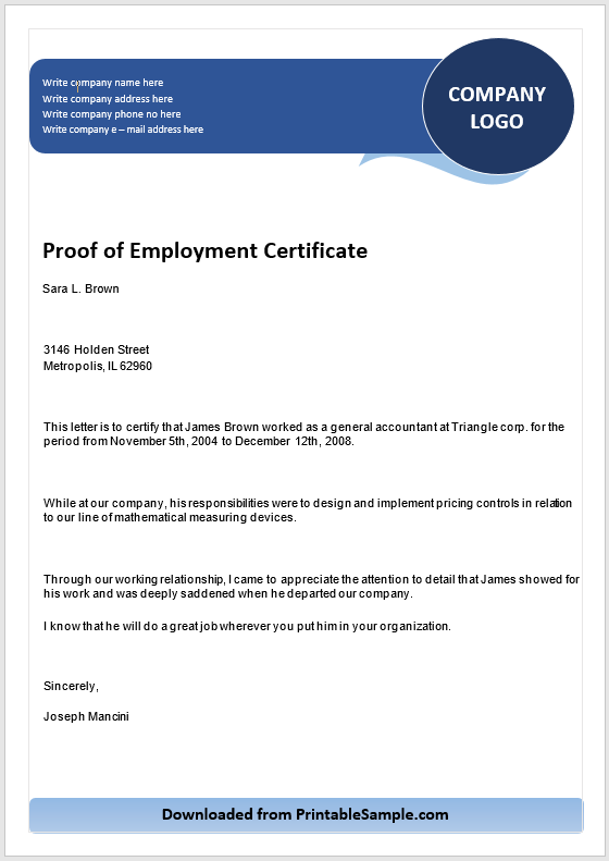 Proof of Employment Certificate Template 02