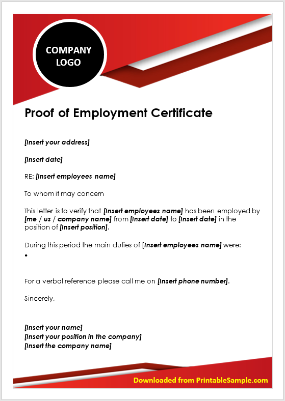 Proof of Employment Certificate Template 03