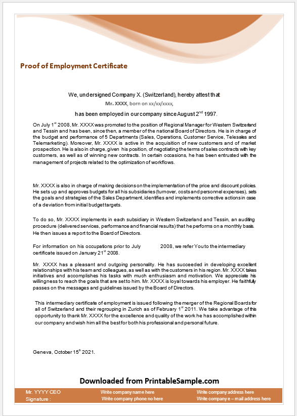 Proof of Employment Certificate Template 04