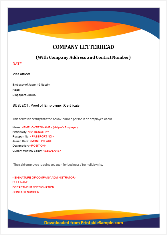 Proof of Employment Certificate 05