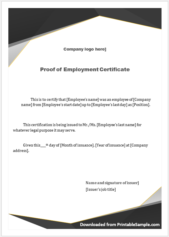 Proof of Employment Certificate Template 06