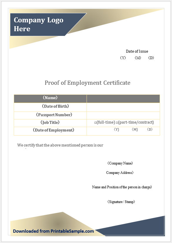Proof of Employment Certificate Template 08