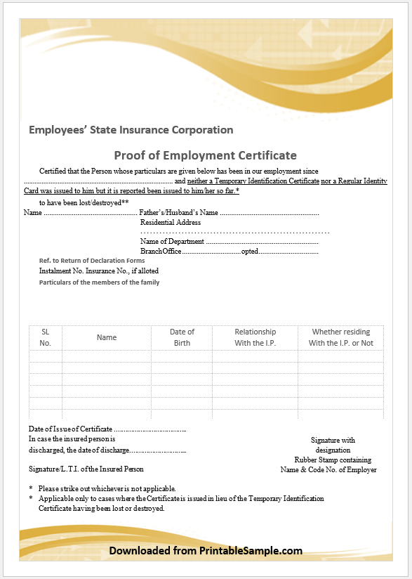 Proof of Employment Certificate Template 09