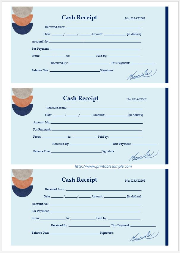 cash receipt template 16