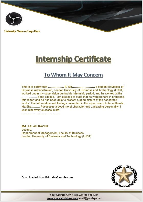Certificate of Internship Template 14
