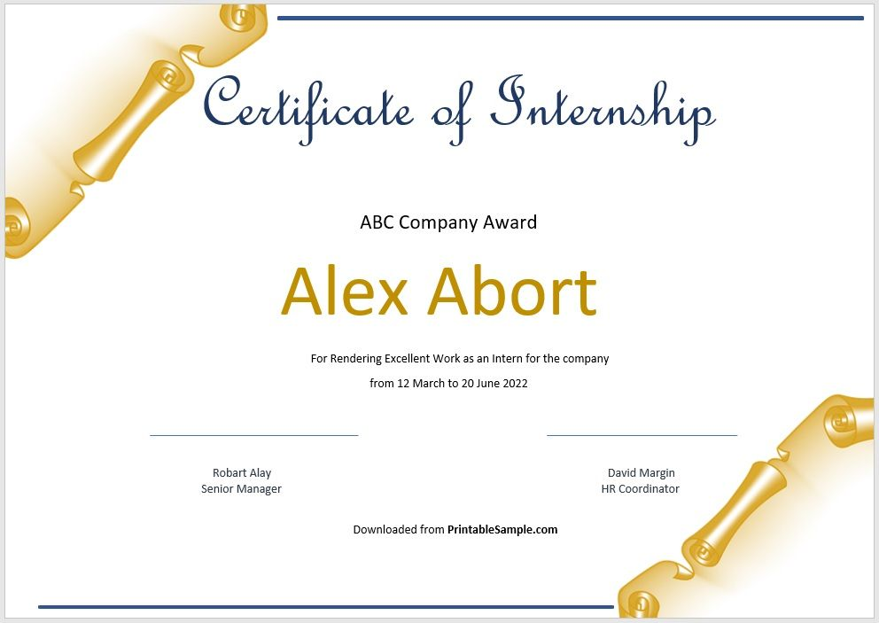 Certificate of Internship Template 20