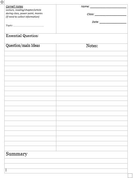 Cornell Notes Template 02