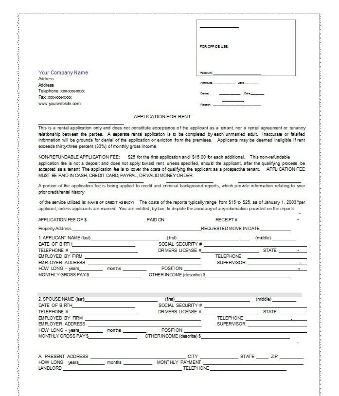 Rental Application Template 02