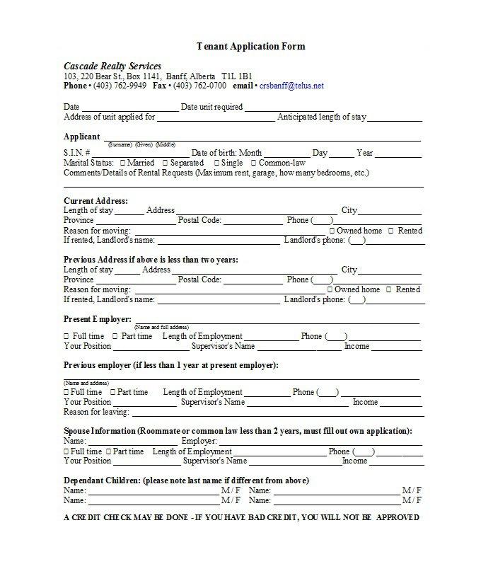 Rental Application Template 14