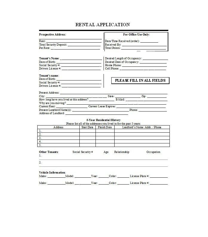 Rental Application Template 23