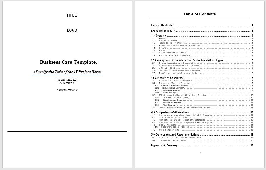 Business Case Template 09