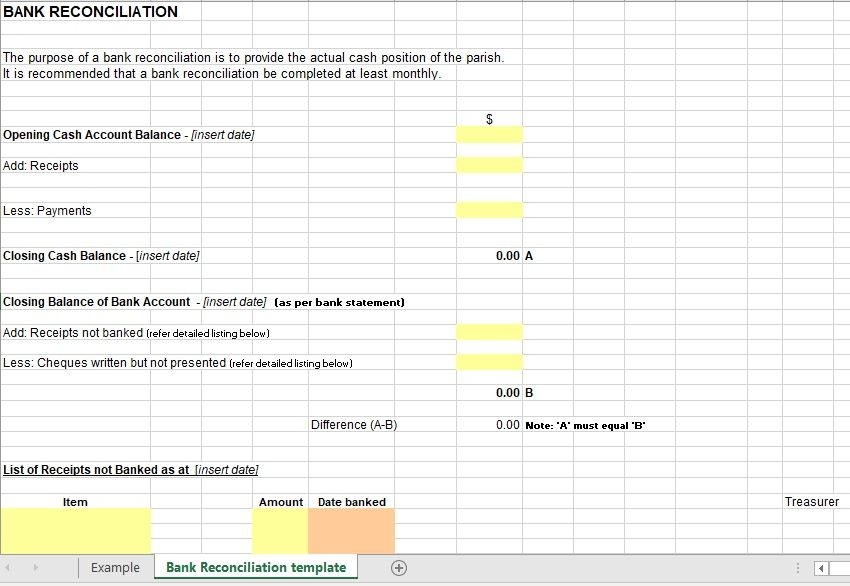 Bank Reconciliation Template 03