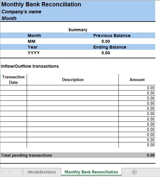 Bank Reconciliation Template 06