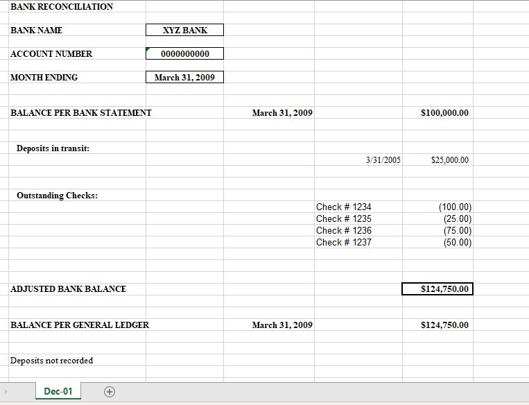 Bank Reconciliation Template 07
